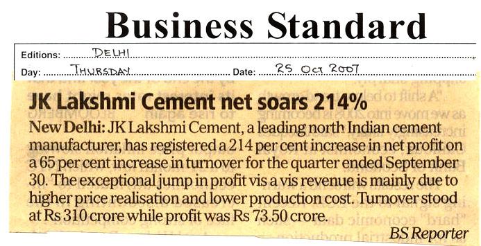 J K Lakshmi Cement : Media reports